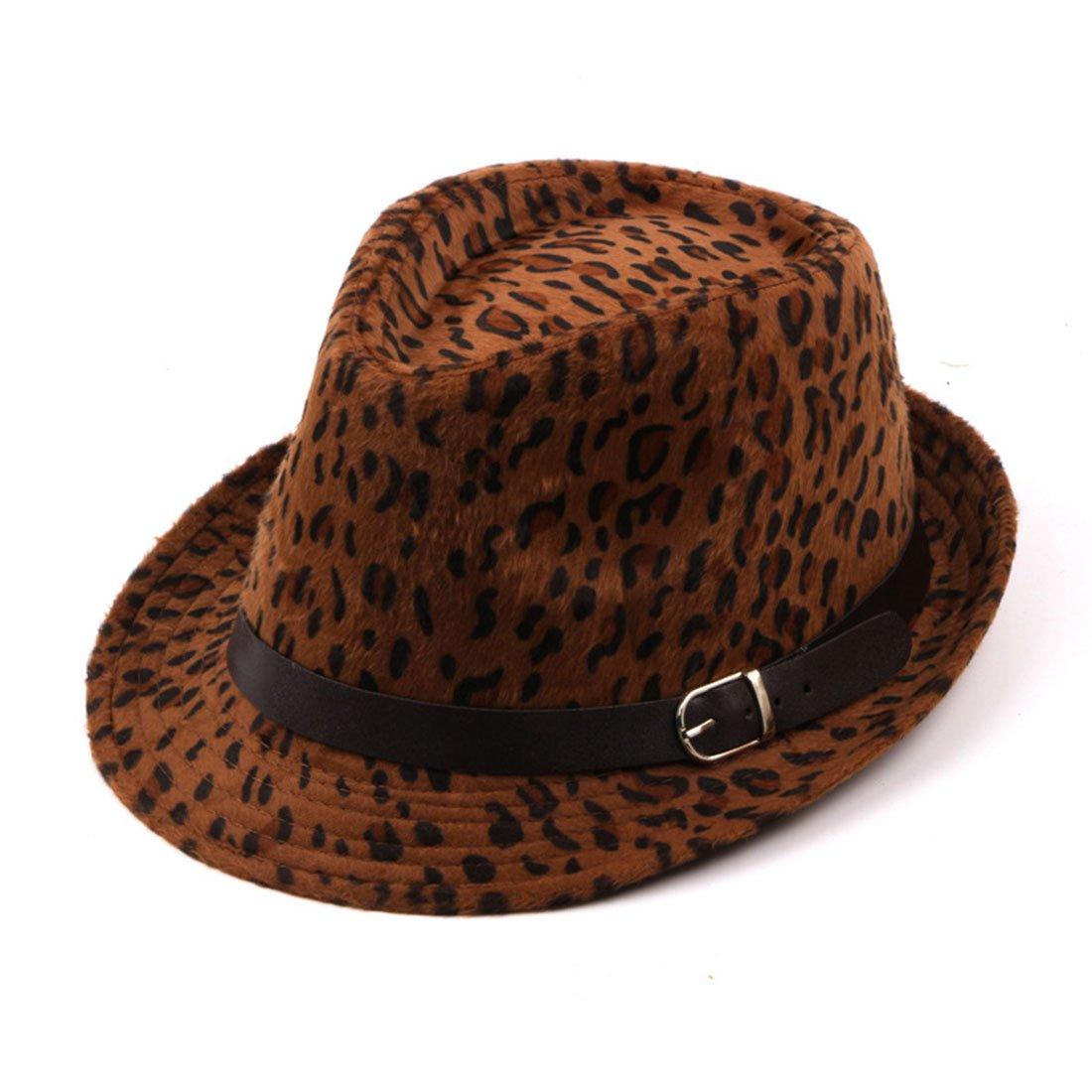 CBriskaari Leopard Print Hats For Woman Winter Woolen Fedora Winter newsboy Hat