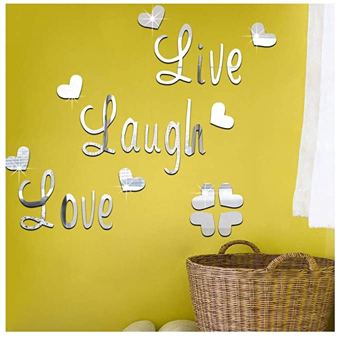 Removable Wall Stickers Mural Wallpaper Live Laugh Love for Home Room Decor