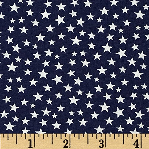 Patriotic Cotton Fabric Stars (Made in the USA Stars White/Navy Fabric By The)