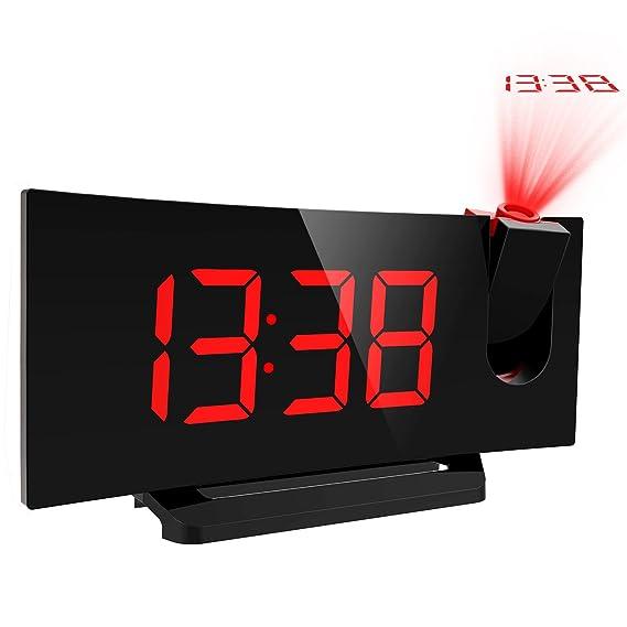 Mpow Radio Despertador Digital, Radio Reloj Despertador Proyector con FM Radio, Proyección de Tiempo