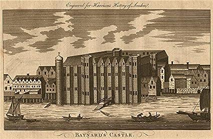 Castillo de baynard, Blackfriars, Londres. destruido 1666. Harrison – 1775 – Old