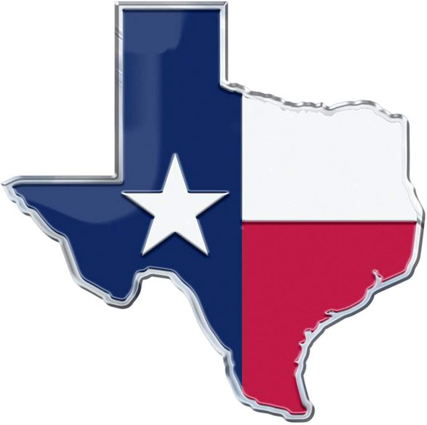 State of Texas Flag Aluminum Auto Color Emblem in The Longhorn Country