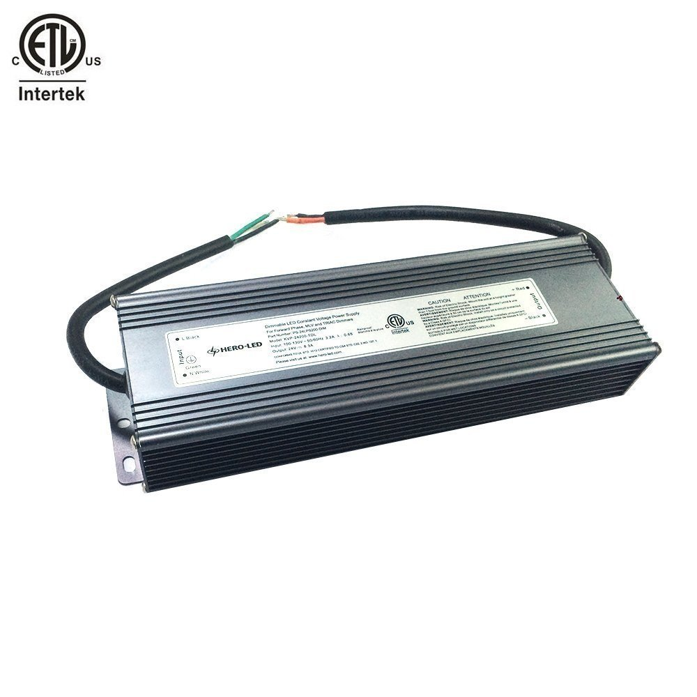 HERO-LED PS-24LPS200-DIM ETL-listed Dimmable LED Constant Voltage Power Supply - Dimmble LED Transformer 24V DC, 8.3A, 200W