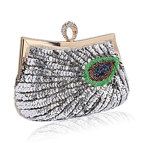 Silver Evening Bag Clutch Peacock Pink Shoulder Single Handmade Bags Beaded Package Crossbody Lady QJAIQQ Cq4OXd4