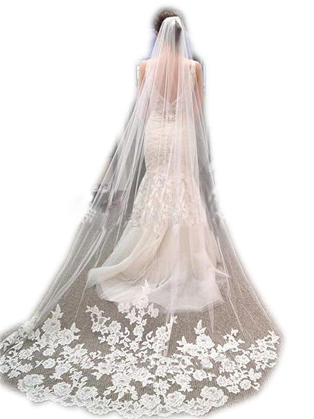 1dd855894e wajy Color Blanco Marfil Encaje Edge Catedral longitud boda nupcial velo +  peine