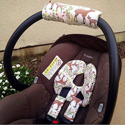 Car Seat Head Support Fawn Floral Infant Strap Covers Insert Newborn Baby Protector Modern For Christmas