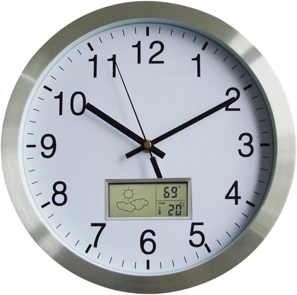 YAHAMA 30CM Reloj de Pared Termometro Clima Radio Reloj de Pared Reloj de Pared Silencioso Termometro