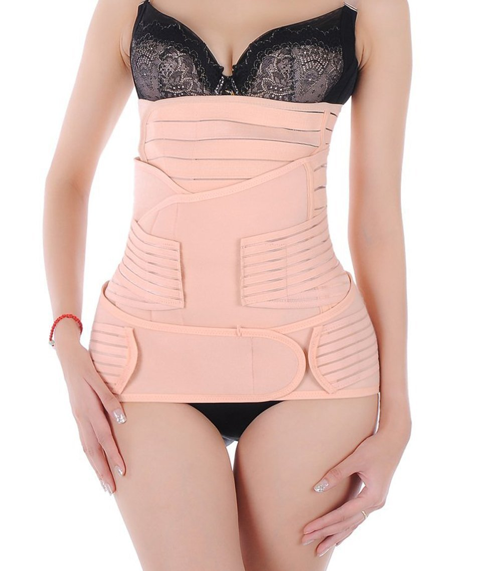 Ewandastore Breathable 3 in 1 Adjustable Post-pregnancy Abdominal Binder Postpartum Postnatal Support - Recovery Belly/Waist/Pelvis Belt Wrap Sharper,Stripe Type,Tag M