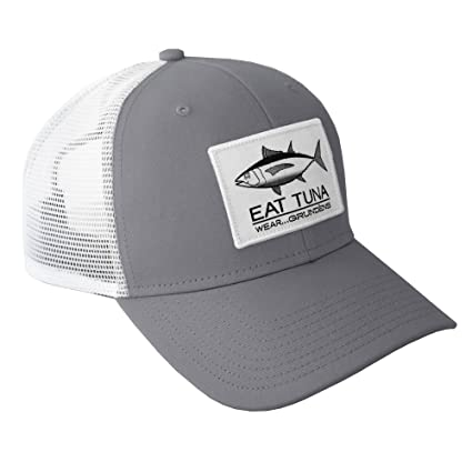 78d94a1d1ca Amazon.com  Grundens Eat Tuna Trucker Hat - Glacier Gray - One Size ...