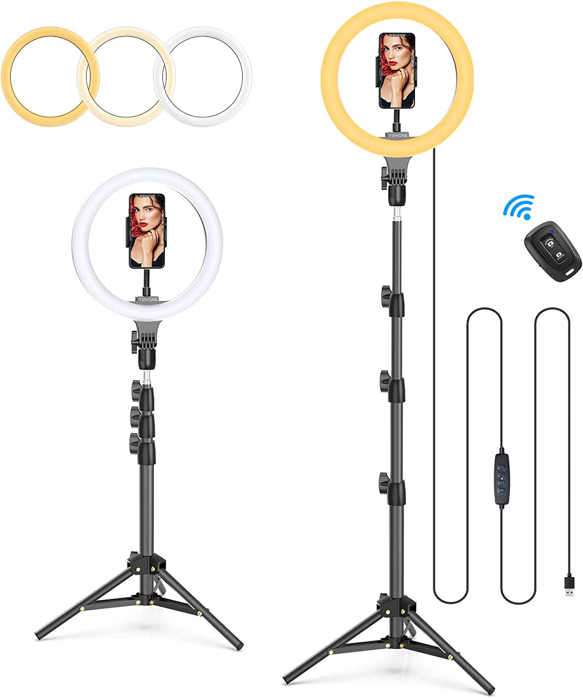para Tiktok Blog etc Selfie Tryone Aro de Luz Tr/ípode Luz de Anillo 6000K Anillo de Luz LED de 10.2 // Soporte de Luz de 1,3 m Maquillaje 3 Modos de Luz y 10 Niveles de Brillo Control Remoto