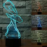 3D Ballerina Ballet Girl Night Light 7 Color Change LED Touch Switch Table Desk Lamp Acrylic Flat ABS Base USB Charger Home Decoration Toy Brithday Xmas Kid Children Gift
