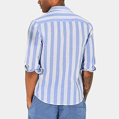 CAOQAO Camisas Hombre Manga Corta Hawaiana Camisa de algodón Color Lino Azul y Blanca