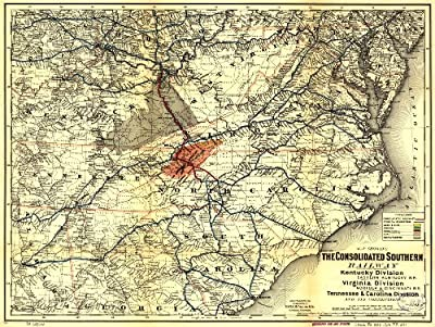"Map Poster - Map showing the Consolidated Southern Railway Kentucky Division--Eastern Kentucky R.R. Virginia Division--Norfolk & Cinci 11"" x 14"""
