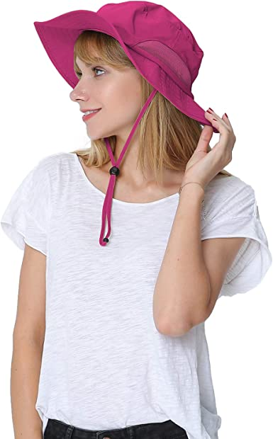 Womens Large Bucket Sun Hat with Detachable Chin Strap Quick Dry Water Resistant