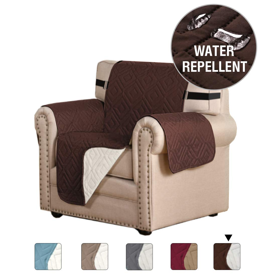 H.VERSAILTEX Prevent Stains Original Reversible Couch Slipcover Furniture Protector, Elastic Strap Machine Washable, Cover Perfect for Pets and Kids