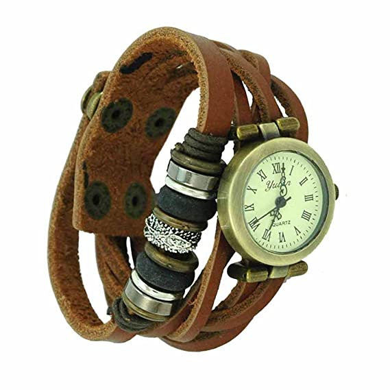 Reloj de pulsera Joya reloj mujer Algodón Dial redondo números romanos Quarzo analógico Mujer Marrón Kobe: Amazon.es: Relojes