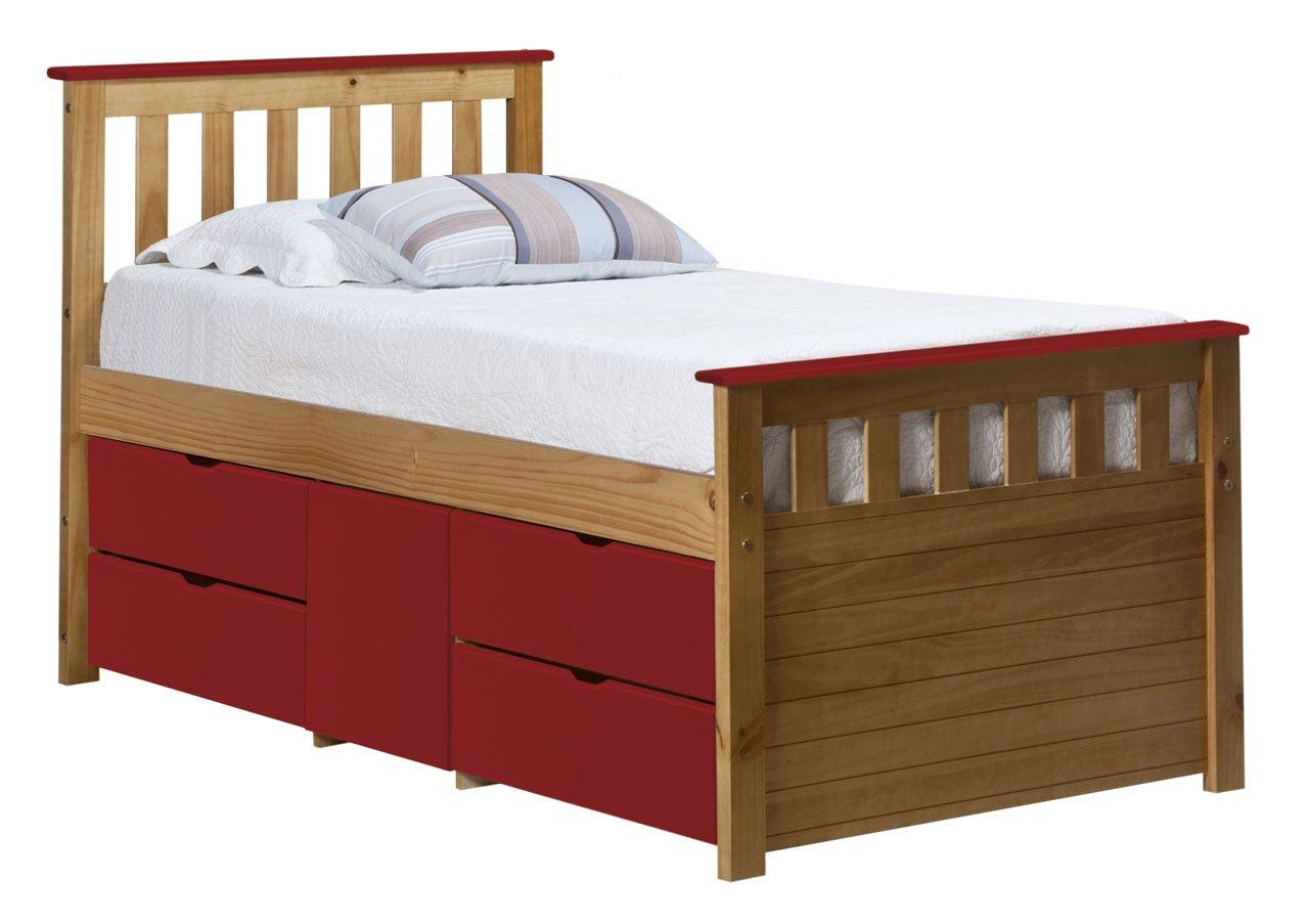 Design Vicenza Captains Ferrara Aufbewahrung Bett lang 3Ft Antik mit Rot Details