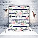 5ft(W) x7(H) Mother's Day Backgrounds Pink Rose Flowers Blue and White Stripes Microfiber Wedding Photo Backdrop Studio Props