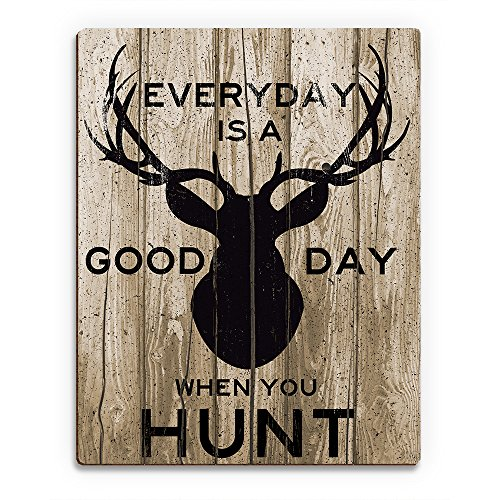Everyday is a Good Day When You Hunt Brown: Indoor Sign with Buck on Wood Plank-pattern for Hunting Lodge or Cabin Wall Art Print on Wood by Picture Wall Art (Image #1)