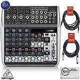 Behringer XENYX Q1202USB - 12 Input / 2 Bus USB Audio Mixer + 1 x 20ft Structure XLR Cable + 1 x 18.6 ft Strukture Instrument Cable + K&M Micro Fiber Cloth Bundle