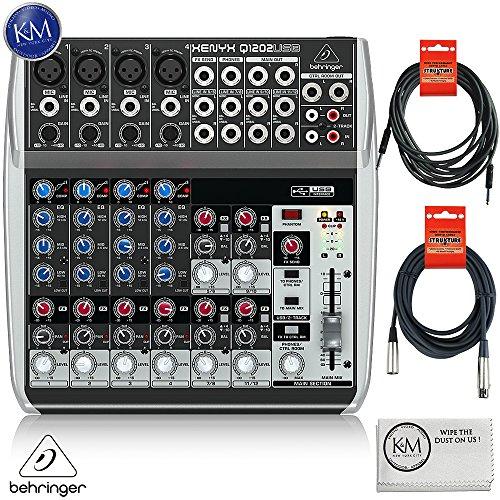 Behringer XENYX Q1202USB - 12 Input / 2 Bus USB Audio Mixer + 1 x 20ft Structure XLR Cable + 1 x 18.6 ft Strukture Instrument Cable + K&M Micro Fiber Cloth Bundle by K&M