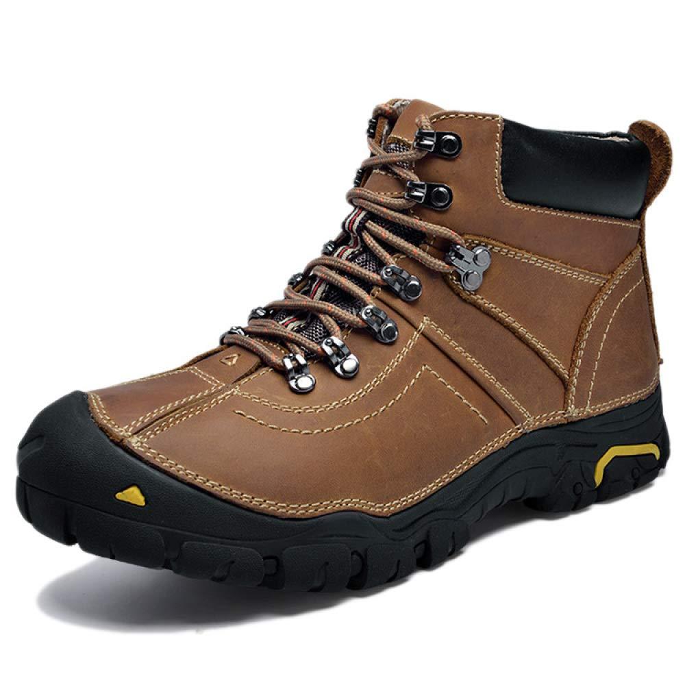 DZX Herren Winter Outdoor Wanderschuhe Wasserdichte Stiefel Walking Lace Up Rutschfeste Atmungsaktive Trekkingschuhe,braun-38