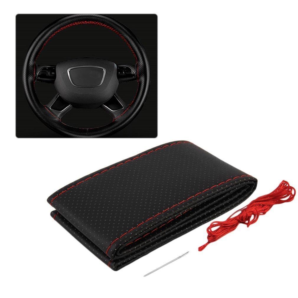 TiooDre Cubre volante, Cuero auto del coche cubierta del volante con las agujas y el hilo Cubiertas de coches suite