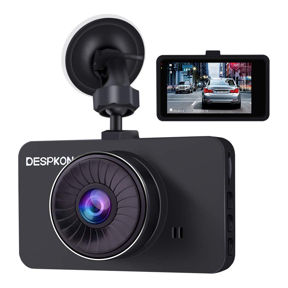 DESPKON Dash Cam 3.0'' Screen Full HD 1296P 170° Wide Angle Dash Camera, Car Camera with G-Sensor Parking Monitor WDR Loop Recording Motion Detection and Night Vision