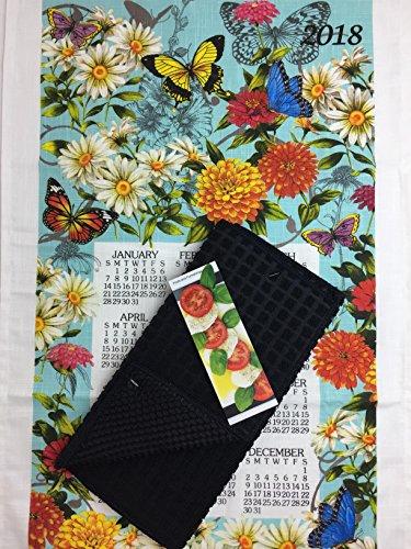 Butterfly Garden Flower 2018 Kitchen Dish Towel Calendar, Drying Mat, and Cook Book Bookmark 3 Piece Bundle