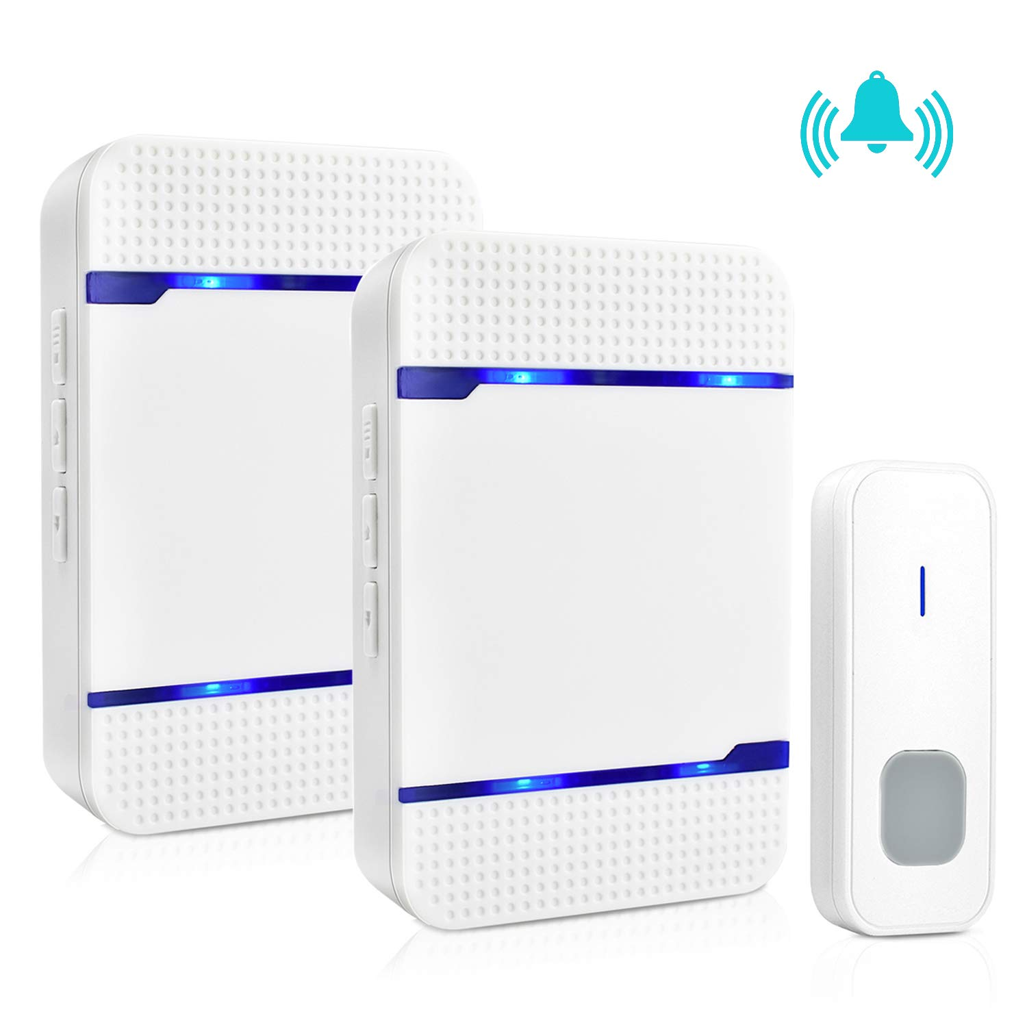 Wireless Doorbell,Waterproof Door Bell Chimes & Kit for Home,Classroom Operating at 1000ft,with 2 Receivers and 1 Push Button Transmitter,55 Melodies,5 Level Volume(0db to 110 db)