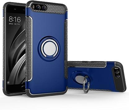 BLUGUL Funda Xiaomi Mi 6, Soporte Giratorio del Anillo de 360 Grados, Compatible con Soporte Coche Magnético, Case Cover para Xiaomi 6 Azul: Amazon.es: Electrónica