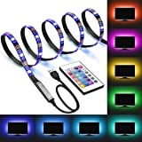 DDeLi LED Strip Lights 6.56ft USB TV Backlight DC 5V RGB Strip Lights for 40 to 60 in HDTV Desktop PC Neon TV Lights…