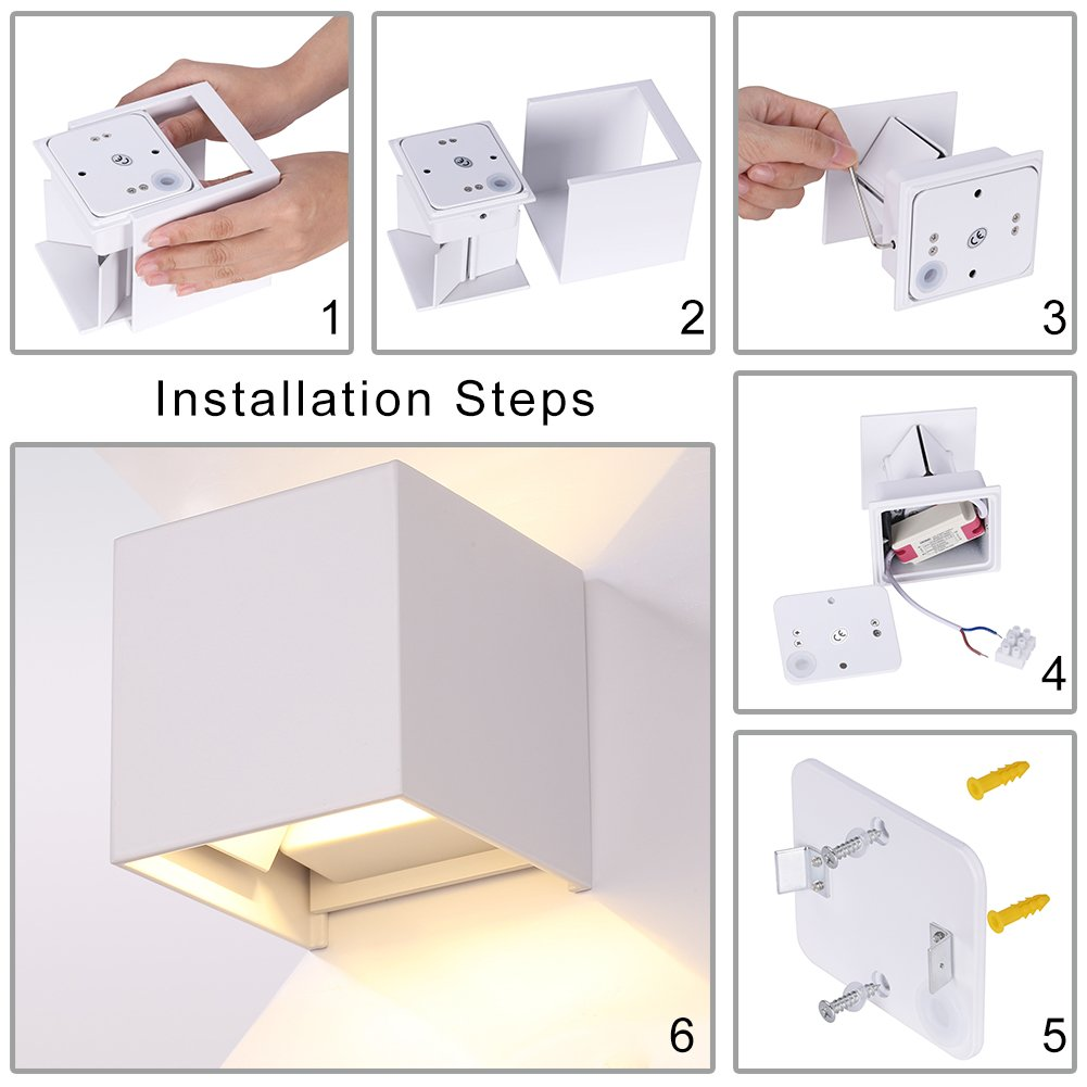 GHB Wall Sconces 7W Wall Light Waterproof LED IP65 with Adjustable ...
