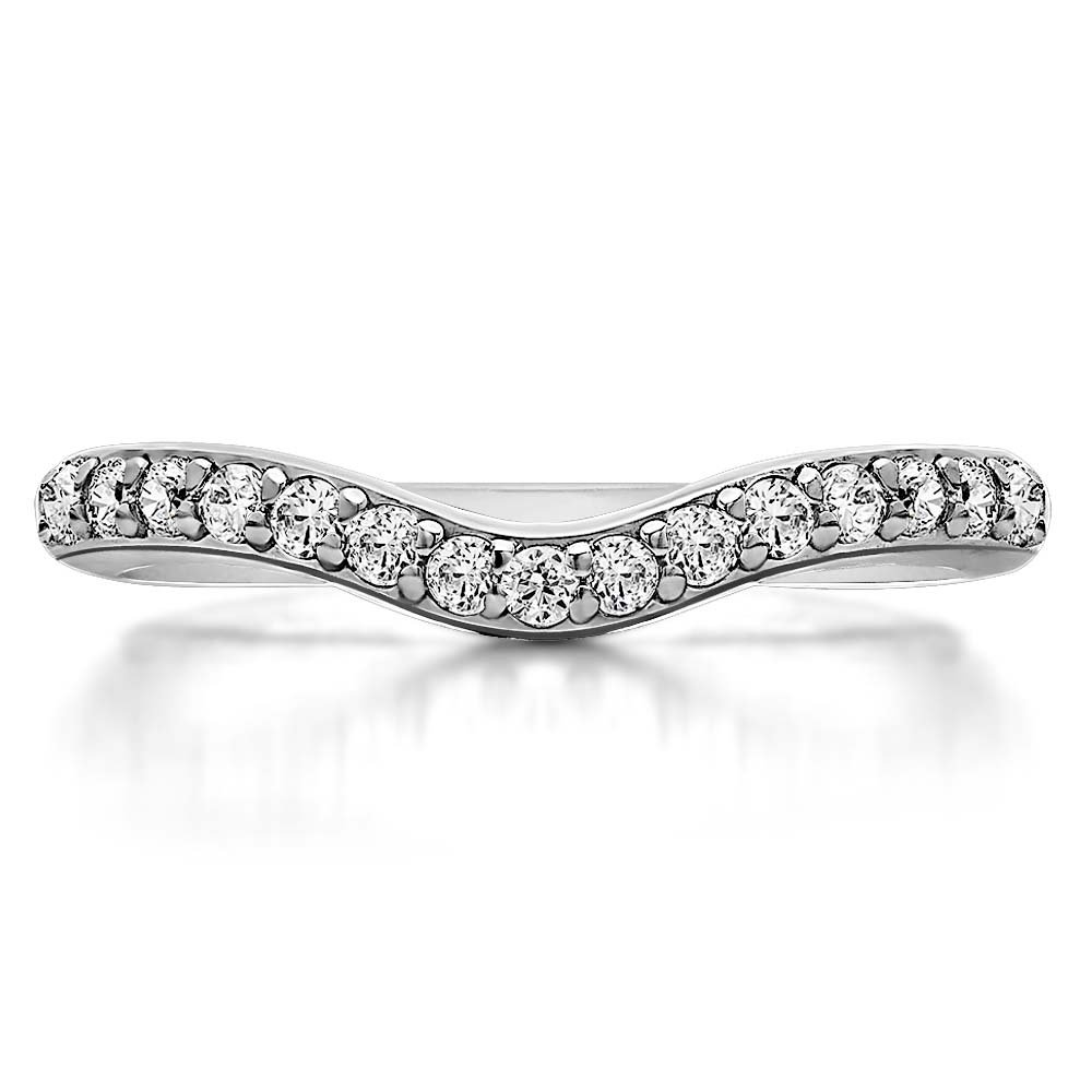 0.33ctw Round White Simulated Diamond 925 Sterling Silver Plated Curved Stackable Half Eternity Wedding Band Ring For Women