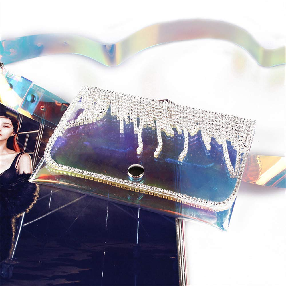 Color : Purple Hip Belt Bags Women Waist Bag Belt Bag Shiny Rhinestones Transparent PVC Fanny Pack Buckled Removable Belt with Waist Pouch Mini Purse Wallet Travel Cell Phone Bag Men /& Women Slim