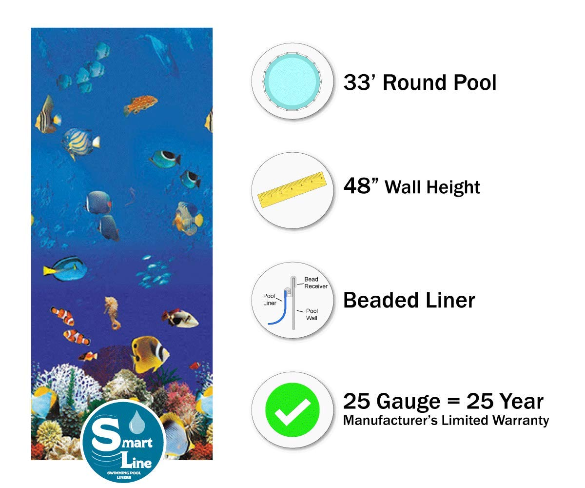 48 Wall Height Smartline 12 x 24 Oval Manor Replacement Liner for Esther Williams//Johnny Weissmuller Pools 25 Gauge