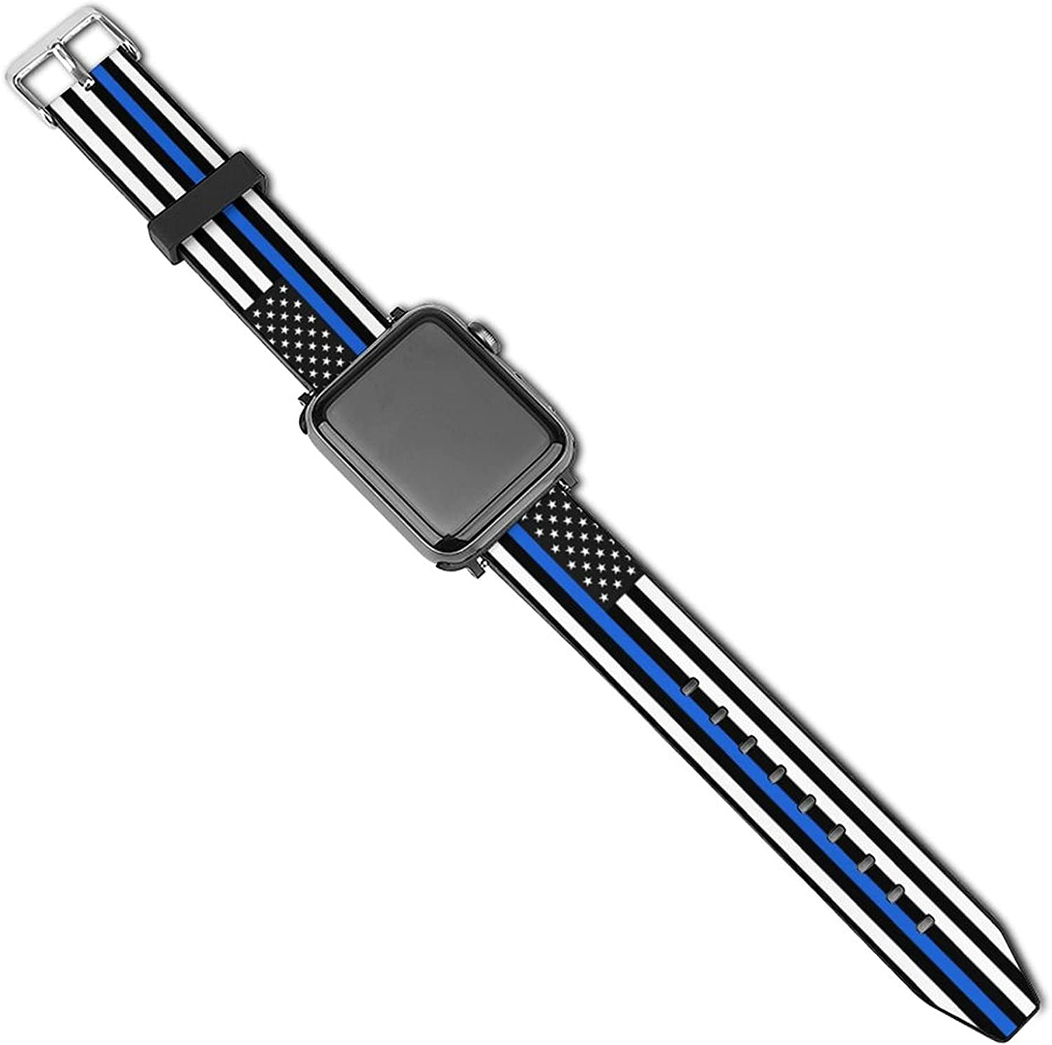 Thin Blue Line American Flag Compatible with Apple Watch Sport Bands 38mm 40mm 42mm 44mm , iWatch 6 5 4 3 2 1 Series Leather Printed Strap Soft PU Watch Bands