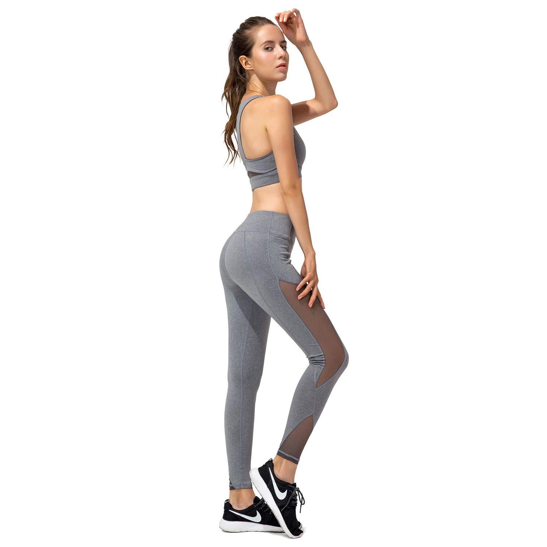 Niksa 2 Pièces Vetement de Sport Femme avec Soutien Gorge Running +  Pantalon Fitness Femme pour c5cfc1a605f