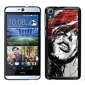// PHONE CASE GIFT // Duro Estuche protector PC Cáscara Plástico Carcasa Funda Hard Protective Case for HTC Desire D826 / Portrait Woman Grunge Paint Splashes Art Red Hair /