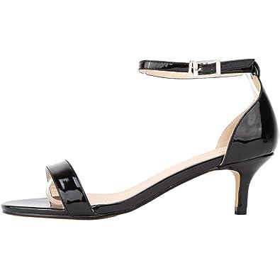 SAMSAY Womens Low Heels Open Toe Ankle Strap Stiletto Pumps Dress Sandals  B01HY9UZ54