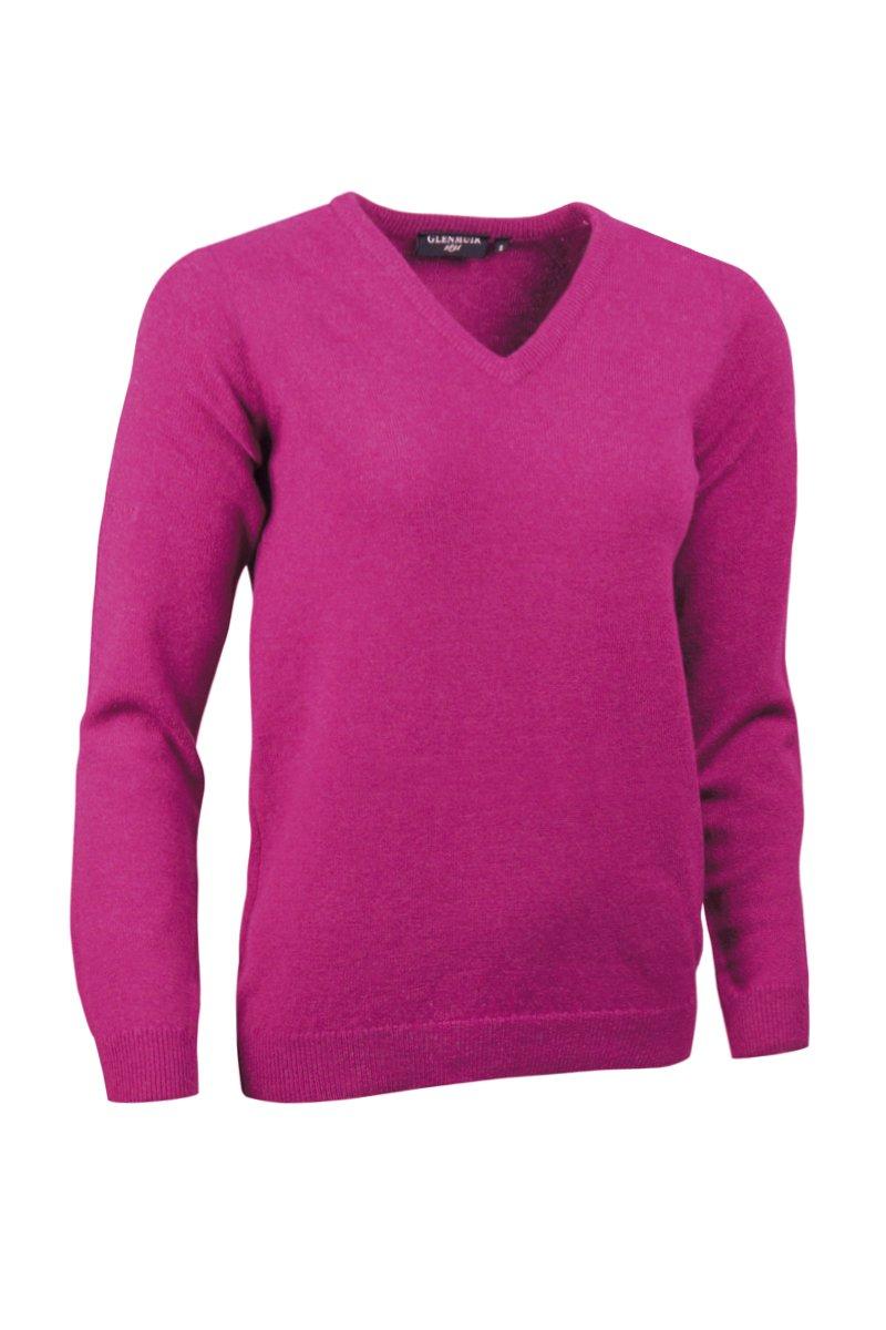 Glenmuir Ladies LKL2542VN V Neck Lambswool Golf Sweater Raspberry XXL by Glenmuir