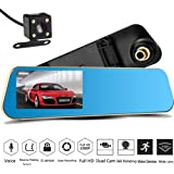 NOVPEAK Car Video Recorder Full HD 1080P | Car Video Camera with Dual Lens for Vehicles | Front & Rearview Mirror Car DVR Dash Cam with Reverse Parking System | Rear Cam with Night Vision & Waterproof