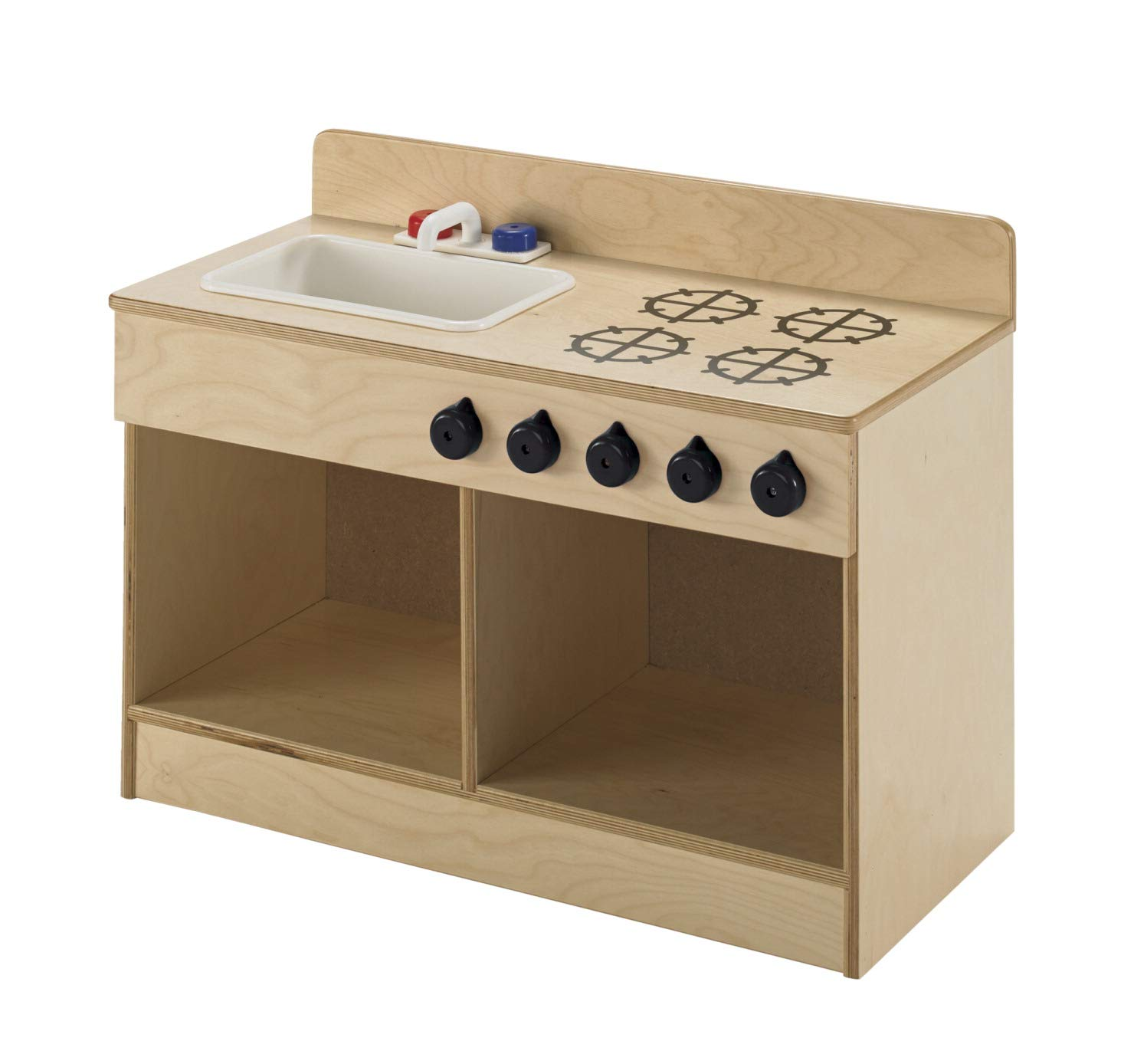 Childcraft 1491196 Toddler Sink and Stove Combo, 21.5'' Height, 13.38'' Width, 29.5'' Length, Natural Wood by Childcraft (Image #4)