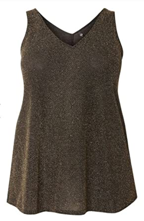 ee15d9d6998a Ex Evans Evans Gold Sleeveless Glitter Vest With V-Neckline Party Top (16):  Amazon.co.uk: Clothing