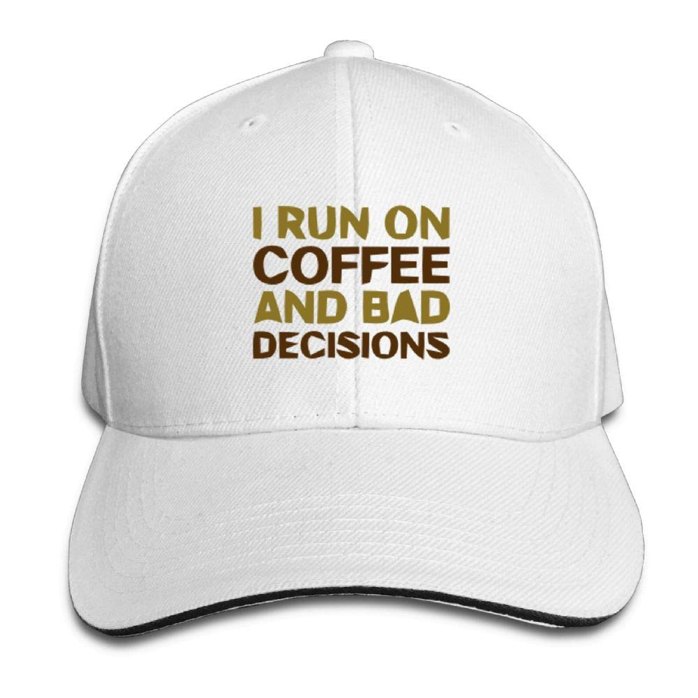 I Run ON Coffee and Bad Decisions Baseball Caps Adjustable Back Strap Flat Hat
