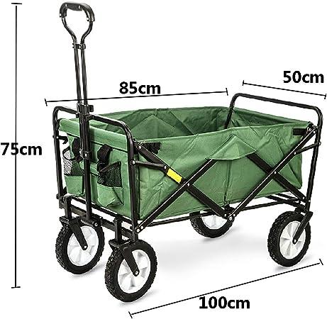 Carretilla de mano plegable Carretilla de mano plegable, carro de transporte carro de transporte remolque de jardín carro de jardín, giratorio 360 °, capacidad de carga de hasta 80 kg (verde),Verde: Amazon.es: