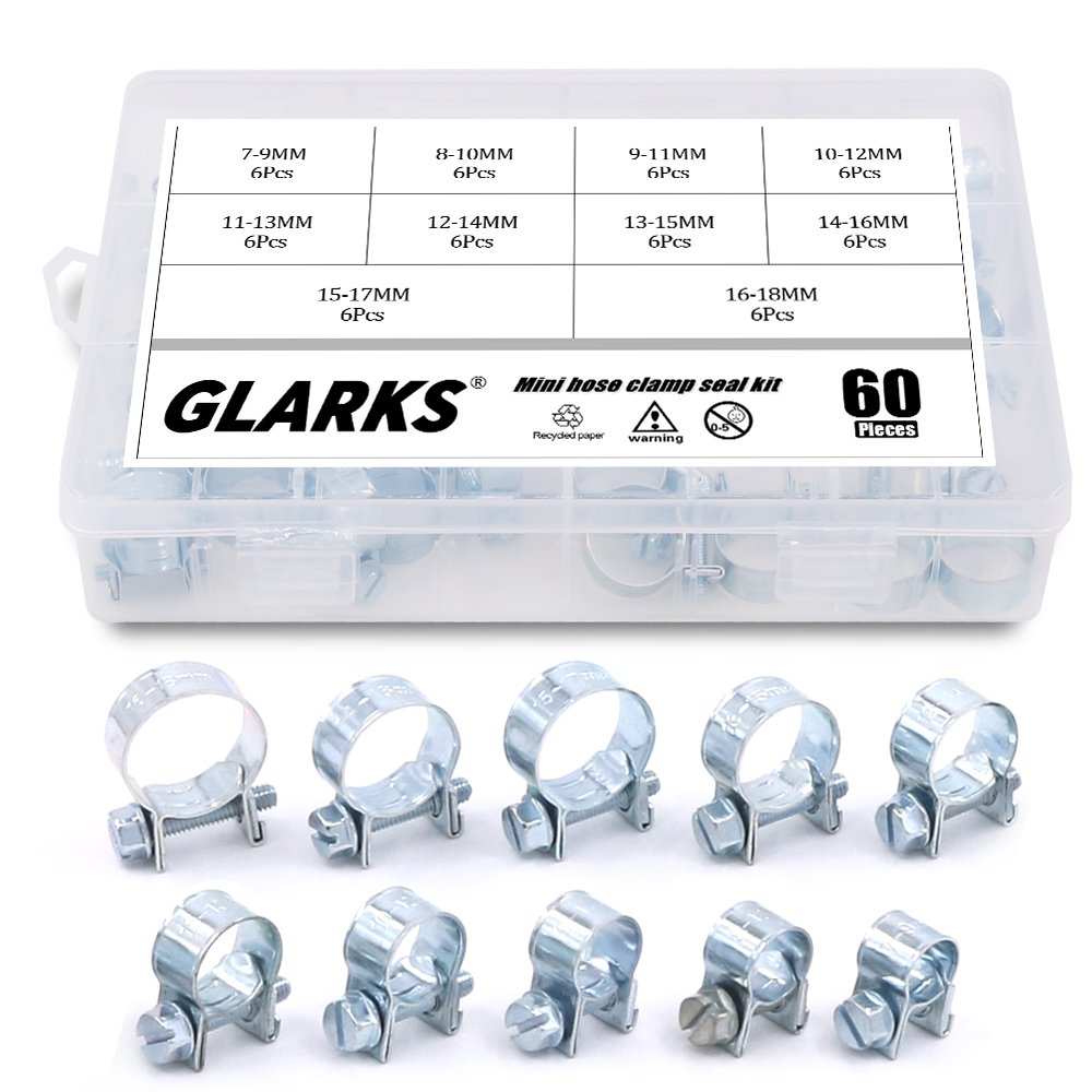 Glarks 60Pcs 10 Size Mini Fuel Injection Style Hose Clamp Assortment Kit For Diesel Petrol Pipe by Glarks (Image #6)