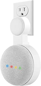 Outlet Wall Mount Holder for Google Home Mini (1st Gen), Invisible Outlet Socket Wall Mount for Google Home Mini Voice Assistant Speaker (White,1 Pack)