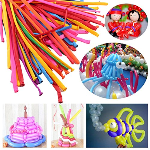 Liping 100Pcs Magic Long Animal Making Balloons Birthday Wedding Party Love Decor Party Balloons Easy to Inflate Ball Balloons (A) ()
