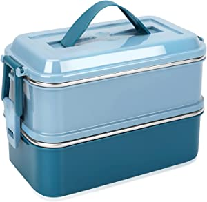 welltop Bento Box, 1400ML Large Capacity Bento Lunch Boxes Leakproof Stainless Steel Insulated Food Storage Container Modern Bento-Style Design Includes 2 Stackable Containers for Adults Kids (Blue)
